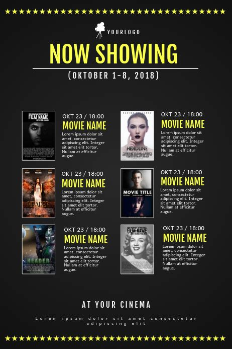 copy  cinema  schedule calendar template postermywall