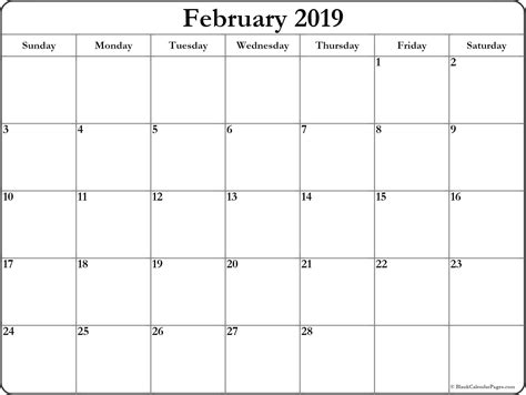 February 2019 Blank Calendar Collection