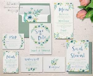 printable watercolor wedding invitation set garden floral With watercolor wedding invitations australia