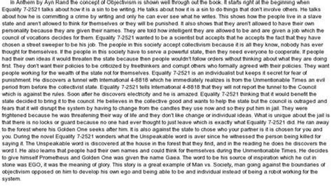 anthem by ayn rand essay research papers 692 words