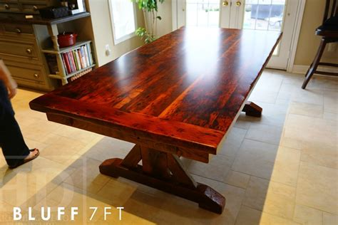 Reclaimed Wood Sawbuck Kitchen Table With Drawers Dundas