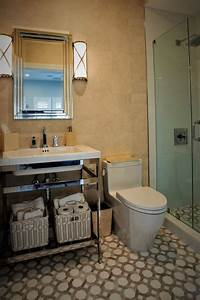 Small, Bathroom, With, Patterned, Neutral, Tile