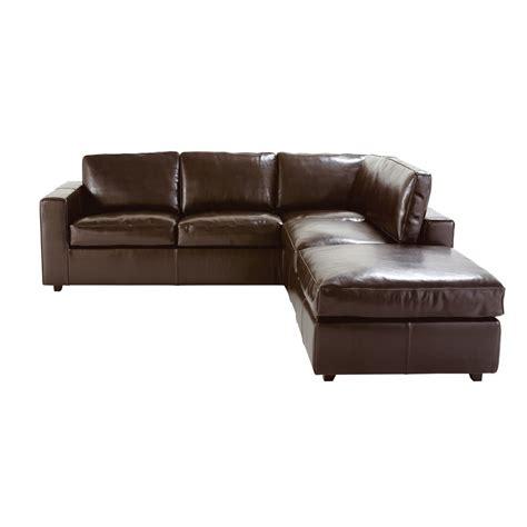 canapé d 39 angle convertible 5 places en croûte de cuir