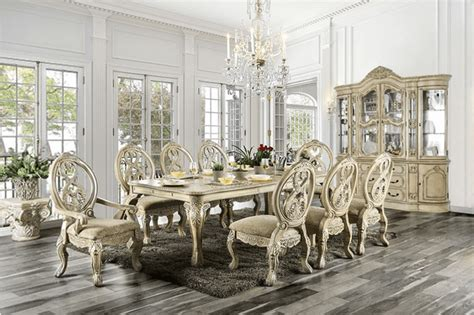 tuscan villa antique white traditional formal dining room
