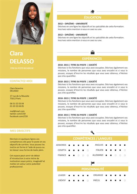Nouveau Type De Cv by Exemple De Cv Clair Et Lumineux Gratuit 224 T 233 L 233 Charger