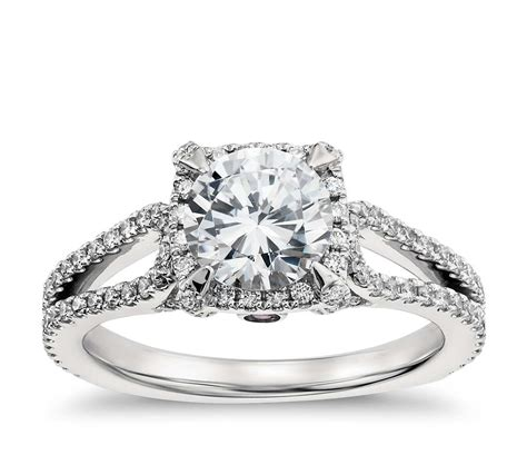 lhuillier halo engagement ring in platinum