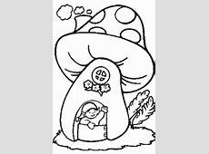 Pilzhaus Mit Maennchen Ausmalbild & Malvorlage Pilze