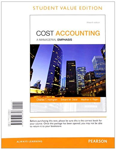 Pearson Copy Book Bag by Cheapest Copy Of Cost Accounting Student Value Edition