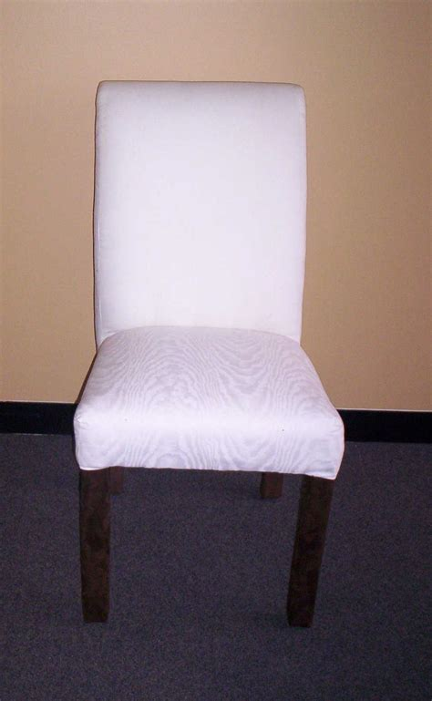 Monogrammed Slipcovered Parsons Chairs by Upholstered Look Custom Fitted Parsons Slipcover