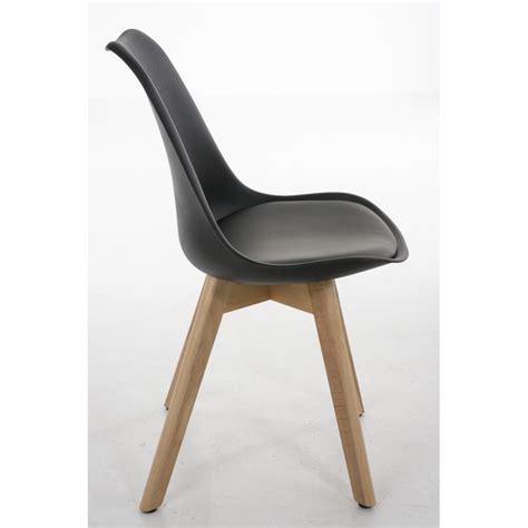 chaises lot de 6 lot de 6 chaises de salle à manger scandinave simili cuir noir pieds bois cds10204 décoshop26
