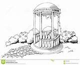 Alcove Graphic Pavilion Illustration Landscape Vector sketch template
