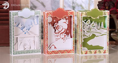 Download our exclusive cut files & use immediately Christmas Paperscape Box Cards SVG Bundle - Dreaming Tree
