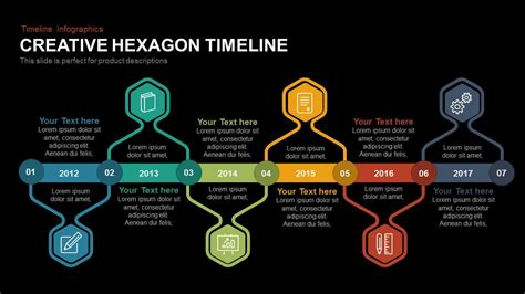creative hexagon timeline powerpoint template  keynote
