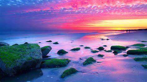 nature landscapes sunset  hague netherlands sea coast rocks red sky wallpaper hd
