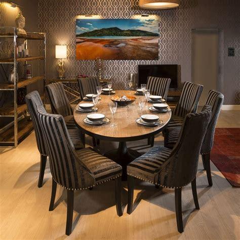 large reclaimed oak oval dining set table  black stripe