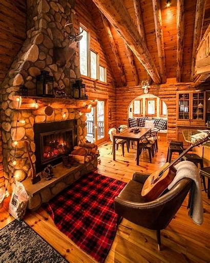 Cabin Interior Cozy Winter Cool Fireplace Cottage