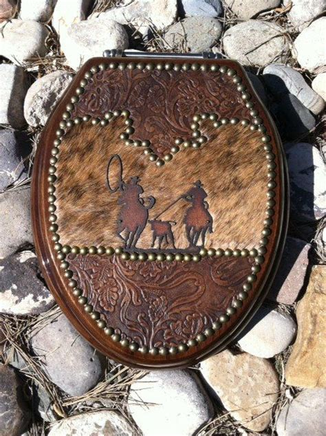 Cowhide Toilet Seat by Team Roper Western Leather And Cowhide Toilet Seat