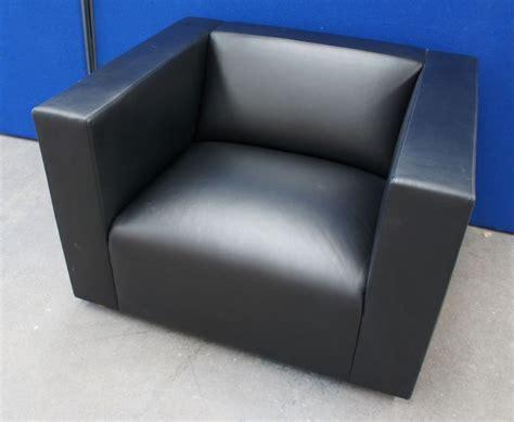 Knoll Shelton Mindel Black Leather Armchair