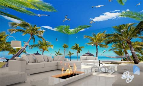 3d fiji island palm tree entire living room wallpaper wall mural idecoroom