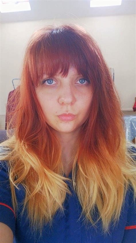 Red To Blonde Ombre Hair With Fringe Red Blonde Ombre