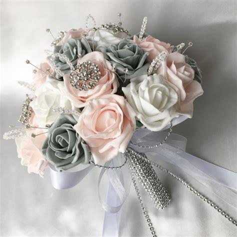 brides posy pink grey white roses diamantes brooches