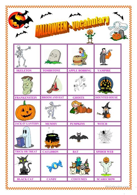 Halloween  Vocabulary & Missing Vowel Worksheet  Free Esl Printable Worksheets Made By Teachers