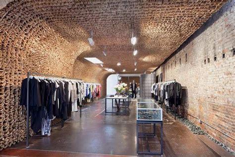 unique shop interior   thousands brown paper bags