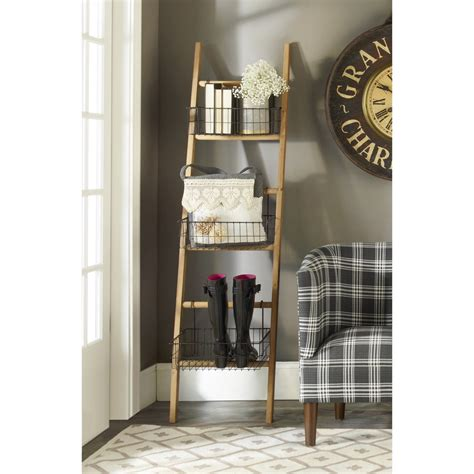 rustic ladder with wire baskets