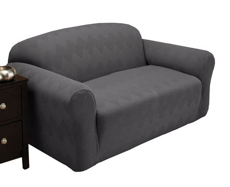 Loveseat Stretch Slipcovers by Stretch Sensations Optic Loveseat Stretch Slipcover Gray