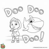 Cocomelon Coloring Shark Printable Cartoon Birthday Valentines Crafts Class Outline Happy Visit sketch template