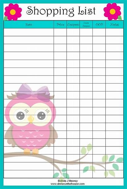 Shopping Printable Grocery Template Coupon Lists Owl