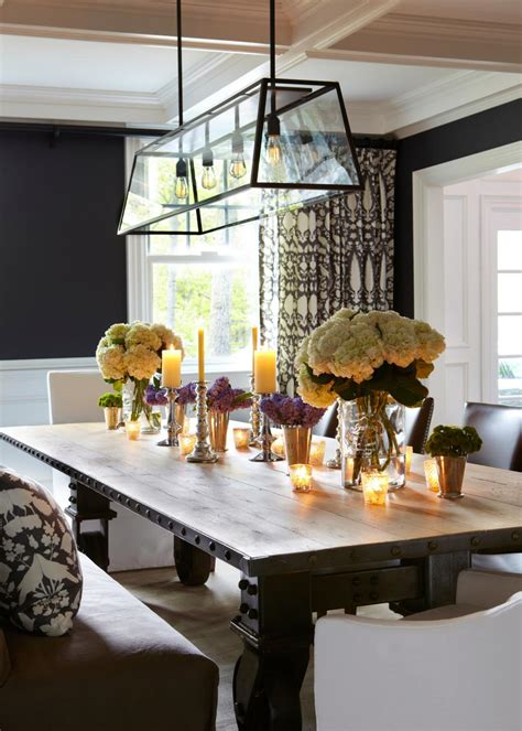 dining room  industrial chic table  chandelier hgtv