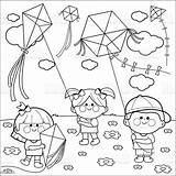 Flying Coloring Kites Children Springtime Meadow sketch template