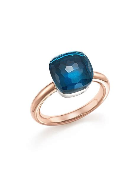pomellato ring nudo pomellato nudo classic ring with blue topaz in 18k