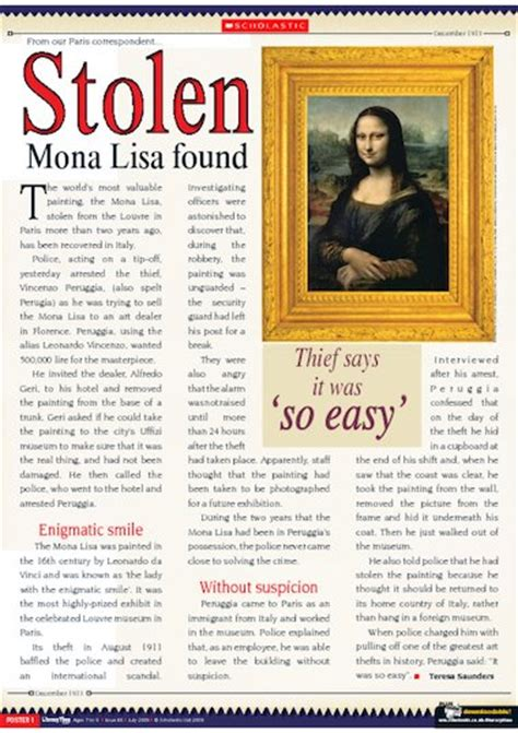 If you're wanting to give your ks2 students some examples of newspaper reports, then why not try out newspaper report examples resource pack? Stolen Mona Lisa found - information report - Primary KS2 teaching resource - Scholastic