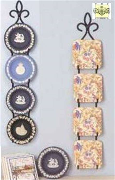 wrought iron plate rack vertical hanger      plates mini plate display