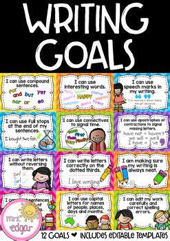 writing goals chart editable   edgar teachers pay teachers