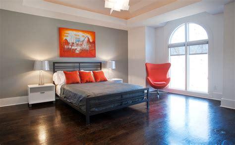 gray and orange bedroom contemporary bedroom 15446