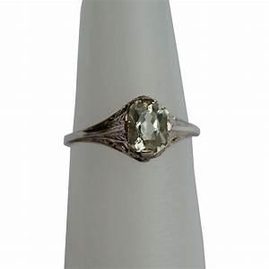 Vintage Filigree Green Amethyst Ring, 14Kt Wg from diamond ...