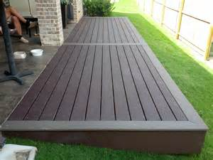 multi color trex deck step from patio big enough to be another seating area garden