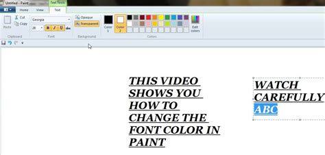 how to change font color in ms paint