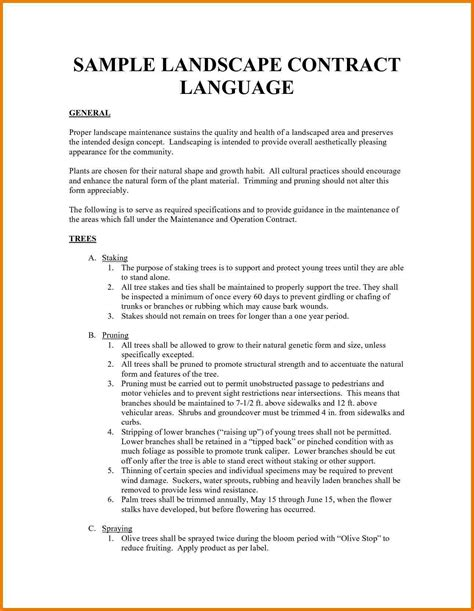 5 landscaping contract template assistant cover letter