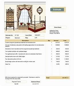 Free painting bid template quick quote for quickbooks for Interior designer cost estimates india