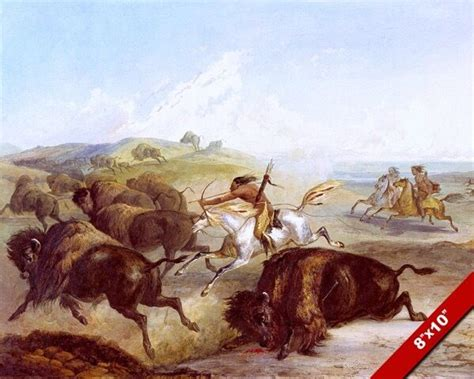 Native American Indians Hunting Bison Buffalo On Horse