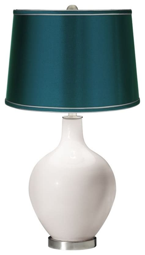 teal and white l shade contemporary smart white satin teal shade ovo table l