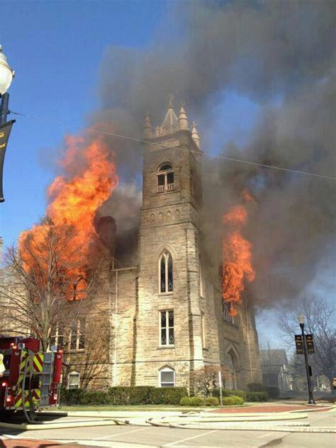 huge fire devours historic church  downtown   blade