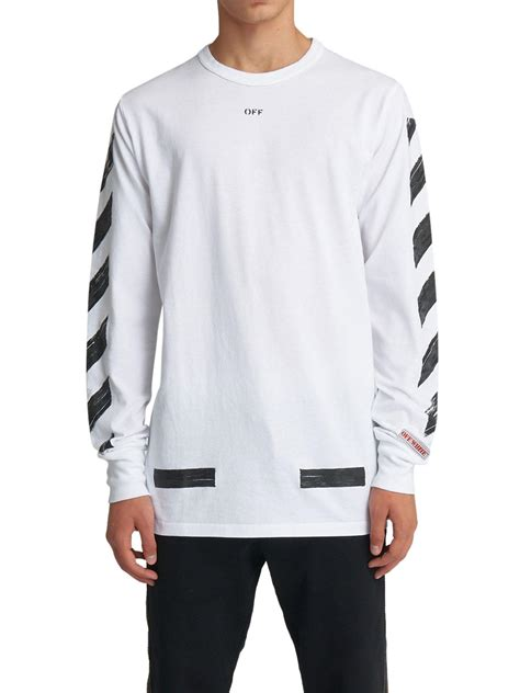 white brushed lines long sleeve graphic  shirt white