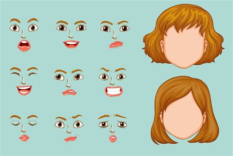 Woman faces with different expressions 417373 Vector Art ...