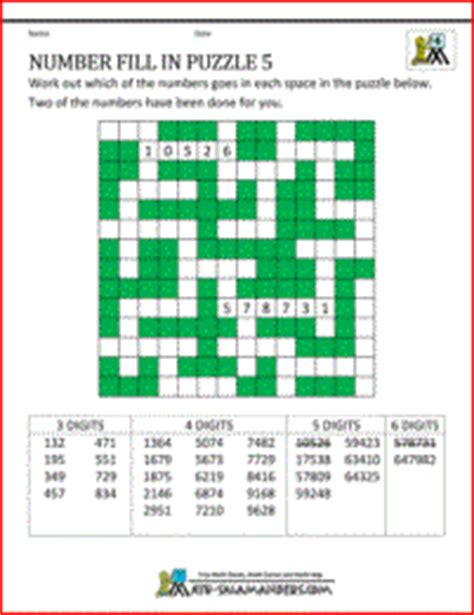 number fill  puzzles