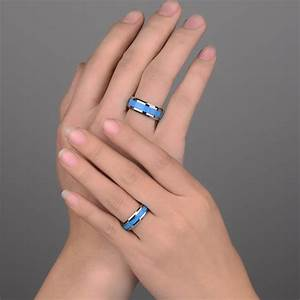 Turquoise inlaied tungsten wedding bands set for men and for Men and women matching wedding rings